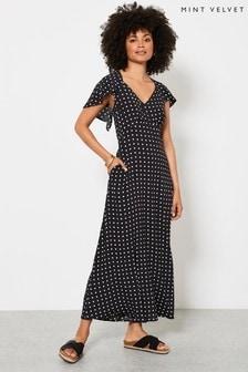 Mint Velvet Black Hope Spot V-Neck Midi Dress
