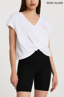 River Island White Knot Front Top