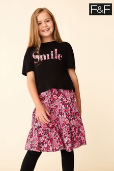 F&F Berry Red Smile Tee and Floral Midi Skirt Set