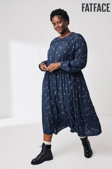 FatFace Blue Amelie Ditsy Midi Dress