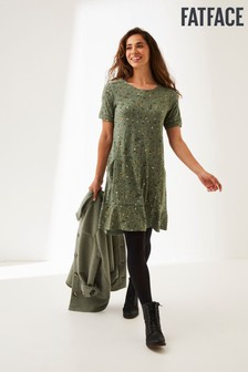 Fat Face Green Simone Sketched Jersey Dress