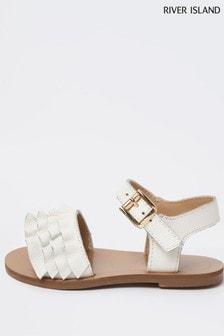 River Island White Pure Leather Ruff Sandals