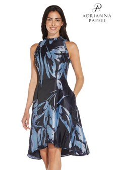 Adrianna Papell Blue Jacquard Ruffle Dress