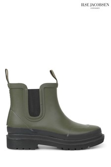 Ilse Jacobsen Green Army Rubber Ankle Boots