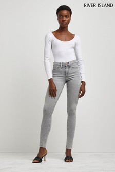River Island Molly Mid Rise Ripped Sculpt Levy Jeggings