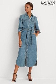 Lauren Ralph Lauren Blue Derrek Denim Shirt Dress