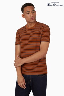 Ben Sherman Cream Textured Stripe T-Shirt