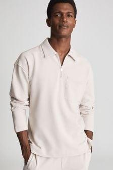 Reiss Gabe Garment Dye Zip Neck Polo