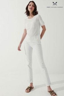 Crew Clothing Company White Dandelion Pointelle T-Shirt
