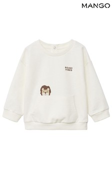 Mango White Printed Cotton Sweatshirt