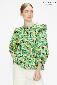 Ted Baker Gigie Printed Frill Shoulder Balloon Sleeve Top