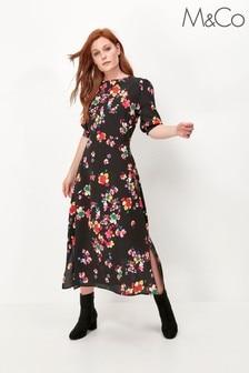 M&Co Colourful Floral Side Slit Midi Dress