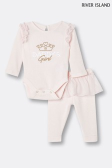 River Island Pink Light Mesh Peplum T-Shirt Set