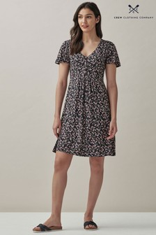 Crew Clothing Company Short Sleeve Button Front Jersey Tea Dress