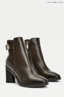 Tommy Hilfiger Brown Hardware High Heeled Boots