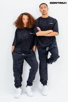 Continu8 Unisex Black Acid Wash Oversized T-Shirt