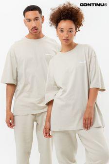 Continu8 Unisex Beige Oversized T-Shirt