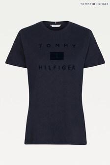 Tommy Hilfiger Blue Regular Flocked T-Shirt
