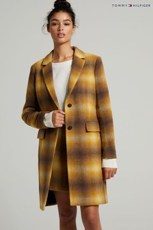 Tommy Hilfiger Yellow Wool Blend Check Coat