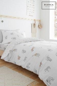 Bianca Natural Zoo Animals Duvet Cover and Pillowcase Set