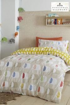 Pineapple Elephant Natural Minbu Elephant Duvet Cover and Pillowcase Set