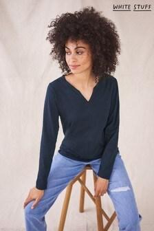 White Stuff Blue Long Sleeve Nelly T-Shirt