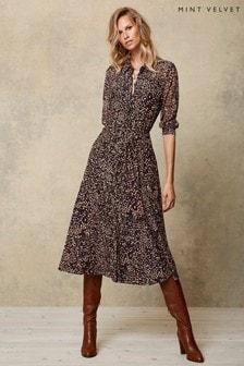 Mint Velvet Blue Piper Print Midi Shirt Dress
