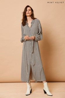 Mint Velvet Grey Georgia Print Midi Shirt Dress