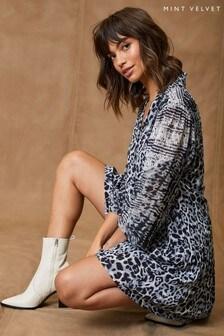 Mint Velvet Womens Grey Edie Animal Print Mini Dress