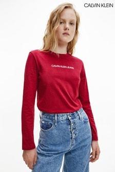Calvin Klein Womens Red Shrunken Institutional T-Shirt