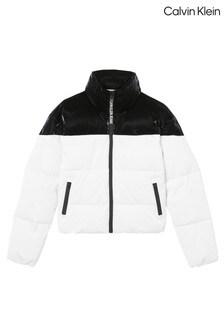 Calvin Klein Womens Black Glossy Blocking Puffer Jacket