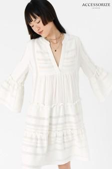 Accessorize White Jacquard Flute Sleeve Dress