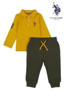U.S. Polo Assn. Yellow Long Sleeve Player Polo And Joggers Set