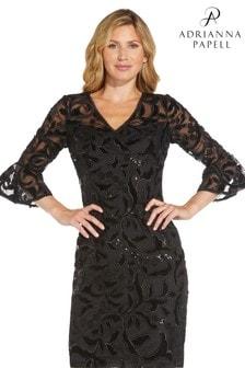 Adrianna Papell Womens Black Velvet Embroidery Sheath Dress