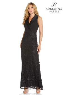 Adrianna Papell Womens Black Tuxedo Sequin Embroidery Gown