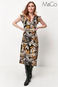 M&Co Black Palm Print Midi Dress