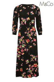 M&Co Womens Blue Floral Print Midi Dress