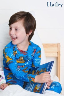 Hatley Blue Long Sleeve Goodnight Construction Site Pyjama Set