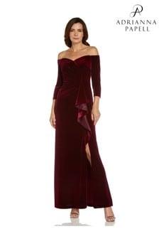 Adrianna Papell Off Shoulder Velvet Gown