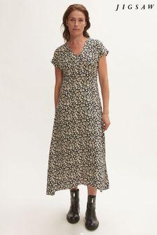 Jigsaw Black Primrose Midi Dress