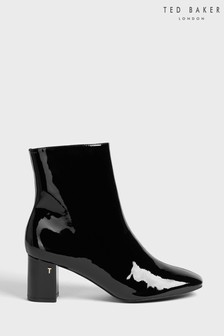 Ted Baker Black Nyomie Patent Block Heel Ankle Boots