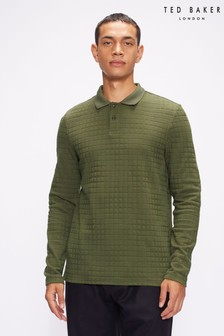 Ted Baker Chaser Green Ls Textured Polo Shirt