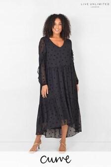 Live Unlimited Curve Black Flock Star Tiered Dress