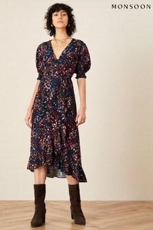 Monsoon Black Martini Animal Print Wrap Dress