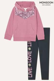 Monsoon Younger Girls Sequin Hoodie and Leggings Set