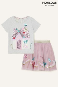 Monsoon Younger Girls Pink Party Sequin Set