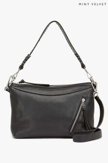 Mint Velvet Raye Black Leather Stud Bag