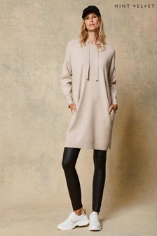 Mint Velvet Cream Longline Hoodie Dress