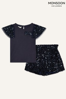 Monsoon Blue Party Sequin Top and Shorts Set
