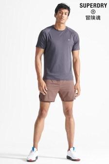 Superdry Brown Sport Train Premium Layer Shorts